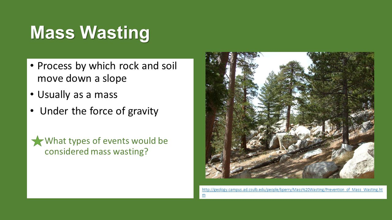 Mass Wasting Process by which rock and soil move down a slope