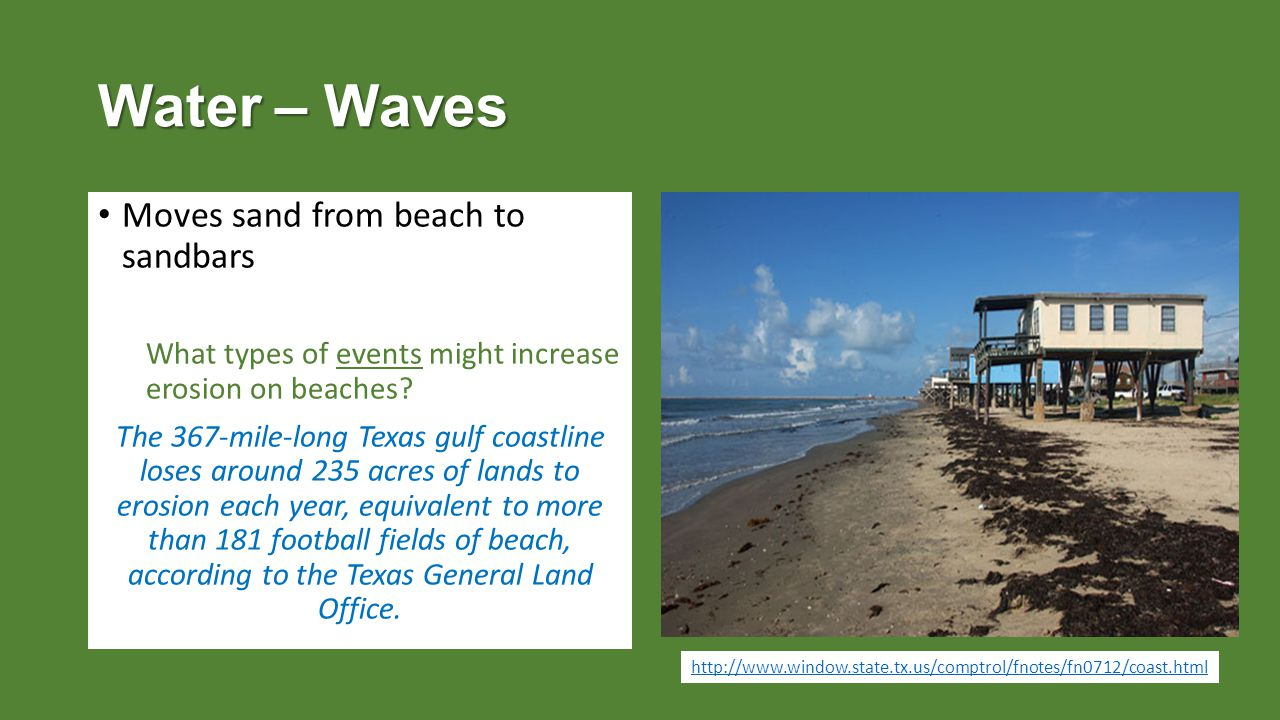 Water – Waves Moves sand from beach to sandbars