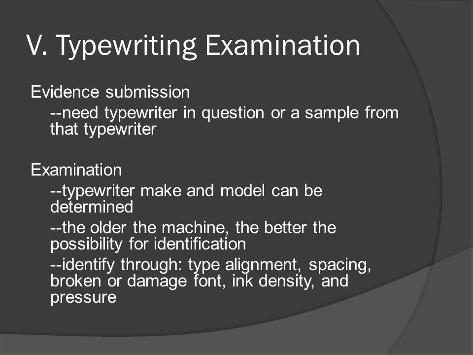 V. Typewriting Examination