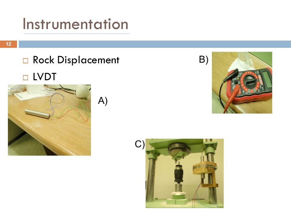 Instrumentation Rock Displacement LVDT B) A) C)