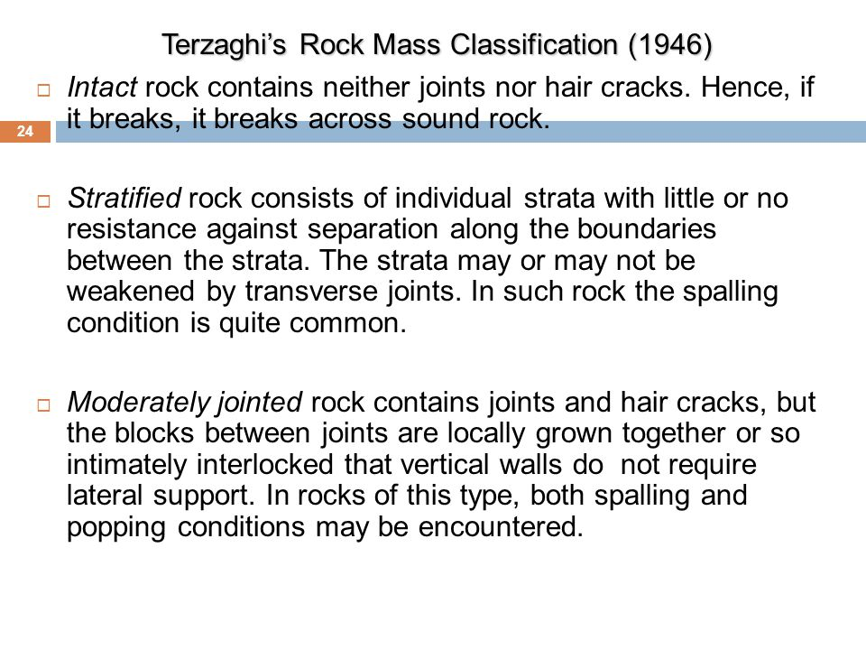 Terzaghi's Rock Mass Classification (1946)