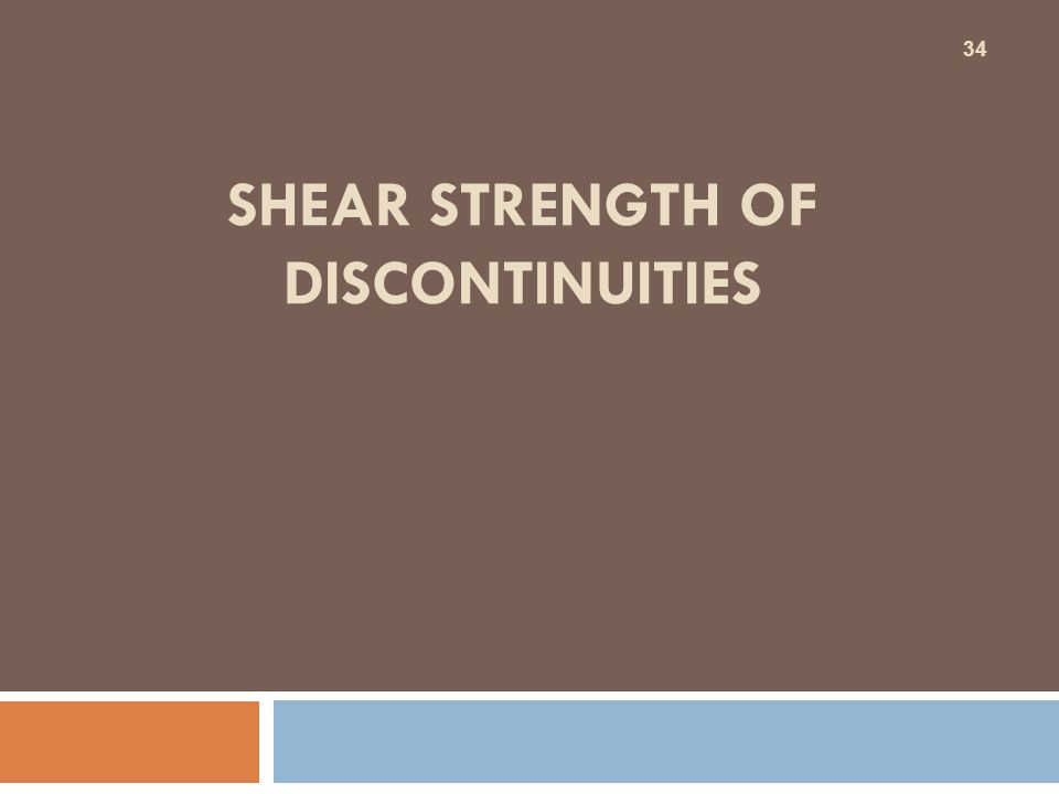 Shear strength of discontinuities
