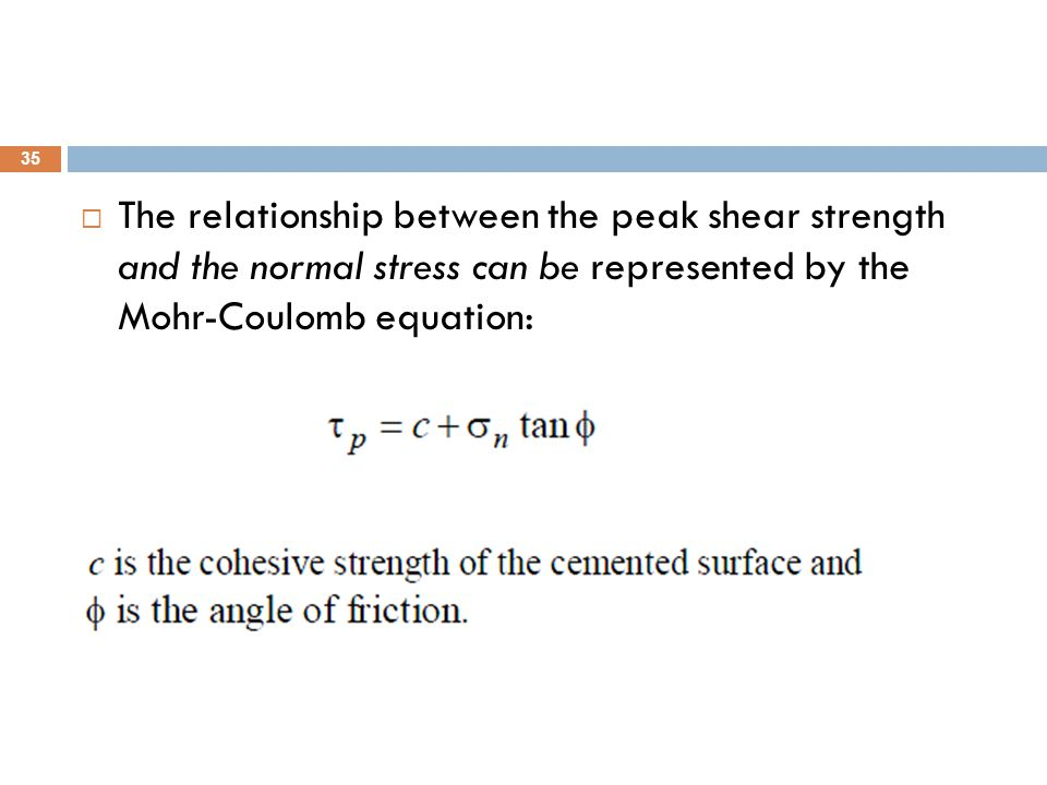 The relationship between the peak shear strength and the normal stress can be represented by the Mohr-Coulomb equation: