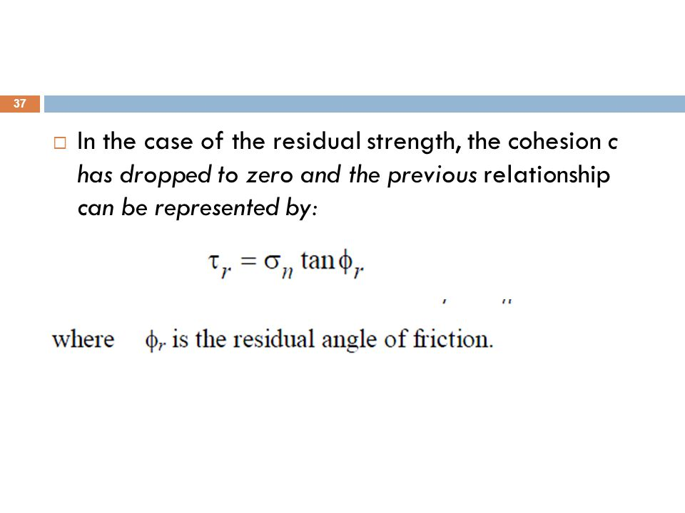In the case of the residual strength, the cohesion c has dropped to zero and the previous relationship can be represented by: