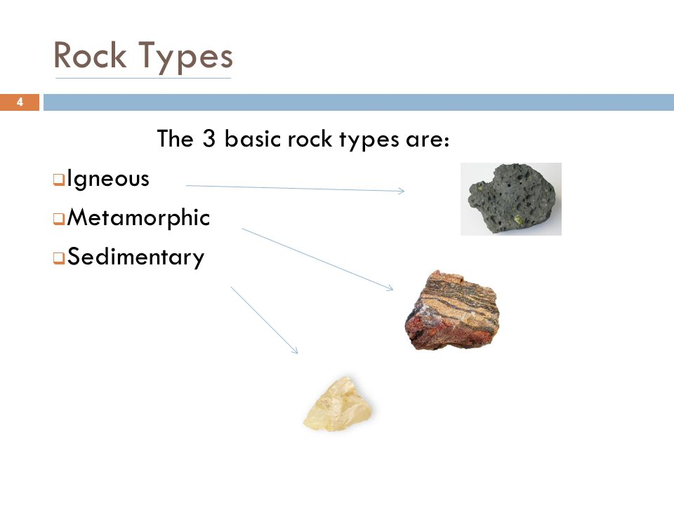Rock Types The 3 basic rock types are: Igneous Metamorphic Sedimentary