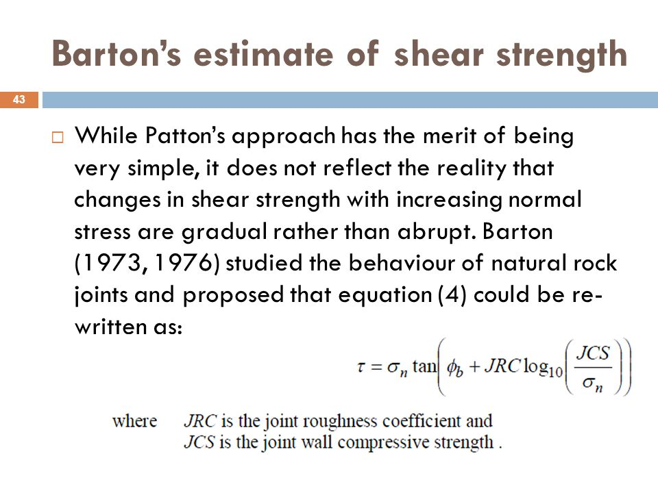 Barton's estimate of shear strength