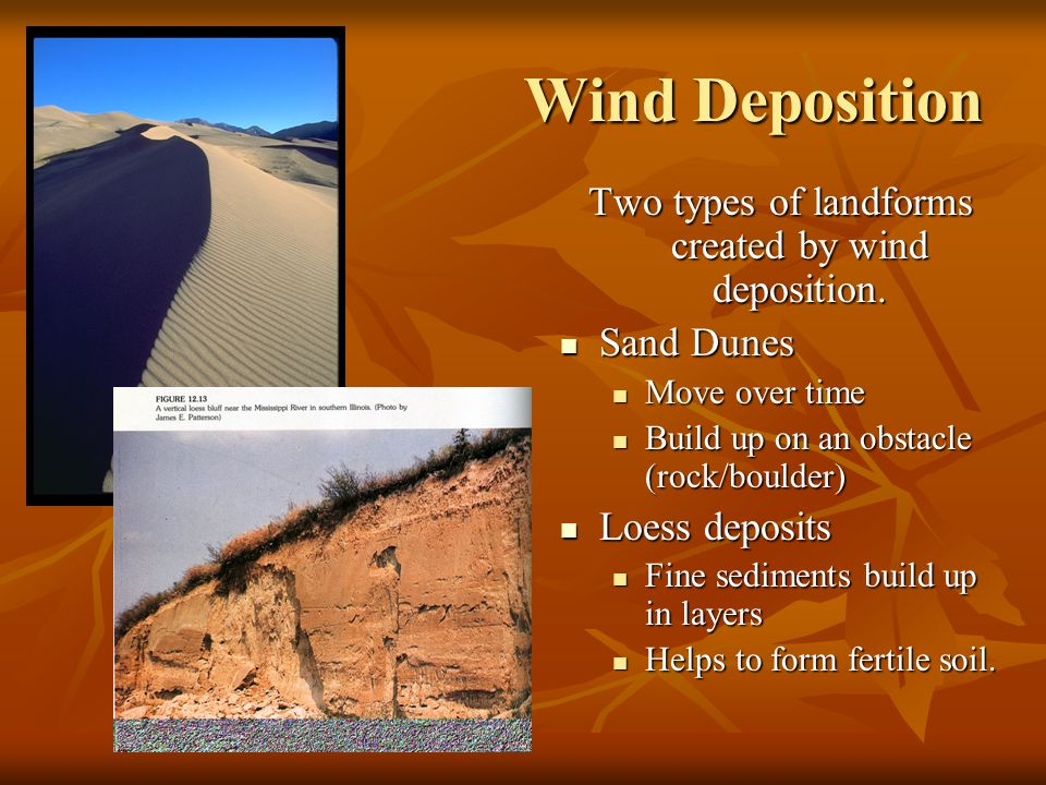 Two types of landforms created by wind deposition.