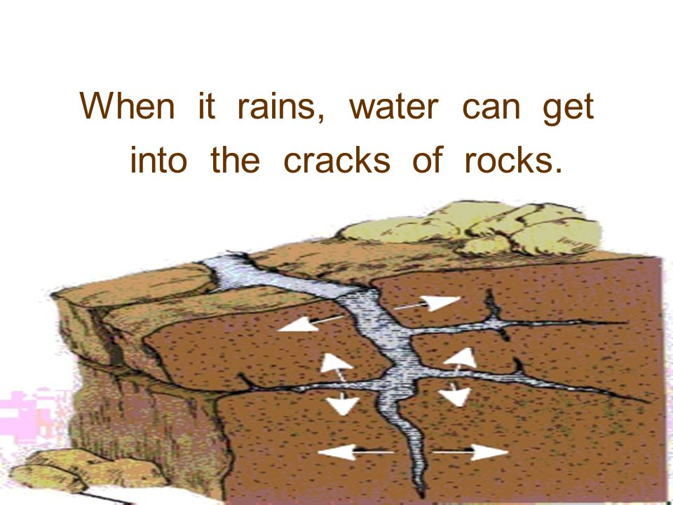 When it rains, water can get into the cracks of rocks.