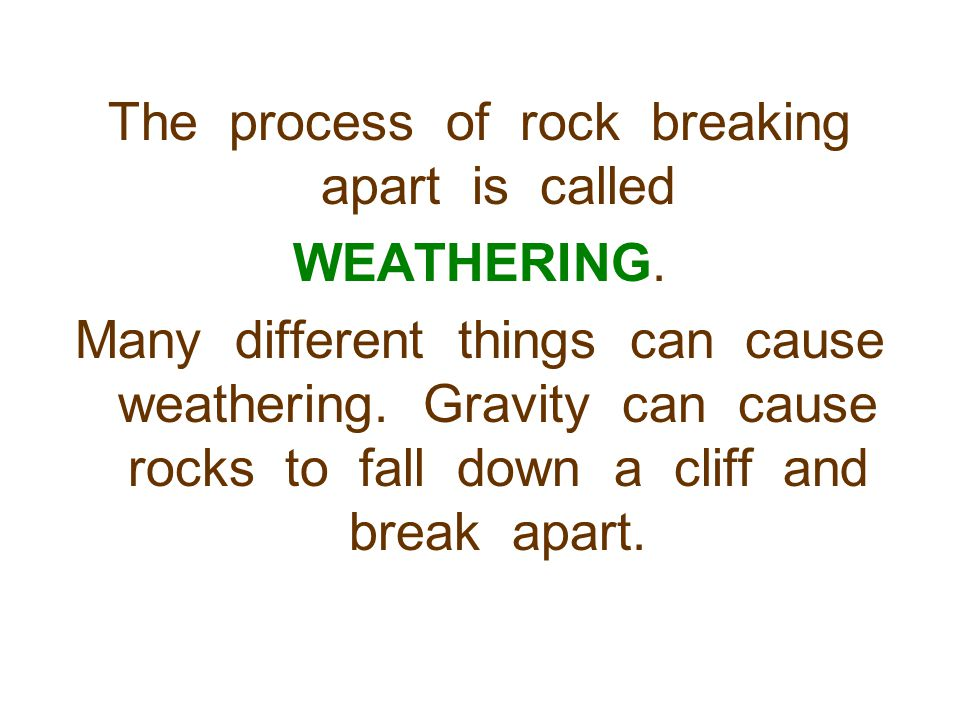 The process of rock breaking apart is called