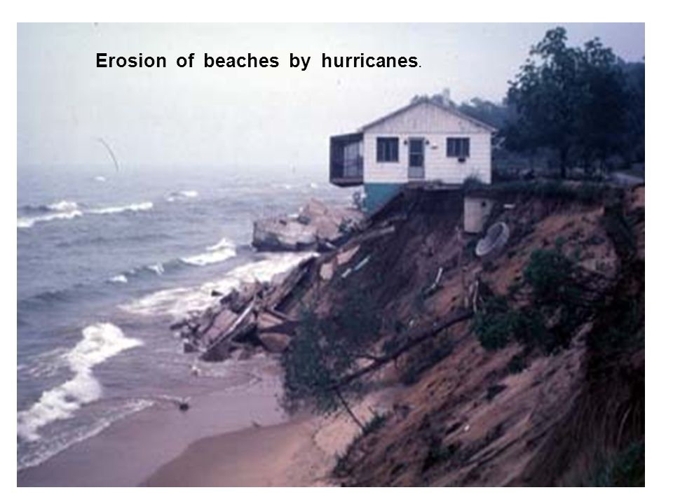 Erosion of beaches by hurricanes.