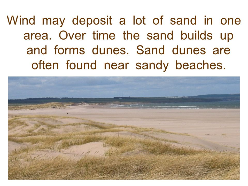 Wind may deposit a lot of sand in one area
