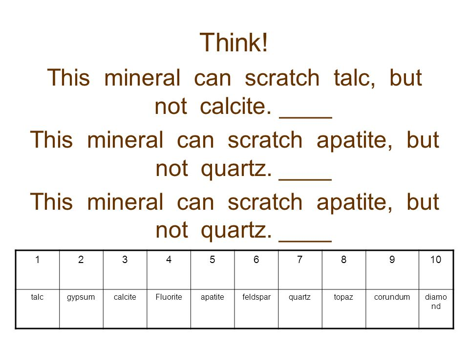 Think! This mineral can scratch talc, but not calcite. ____