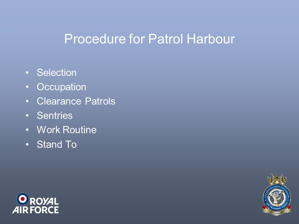 Procedure for Patrol Harbour