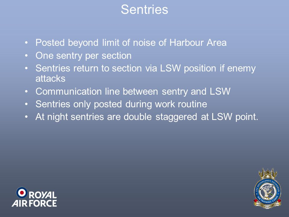 Sentries Posted beyond limit of noise of Harbour Area
