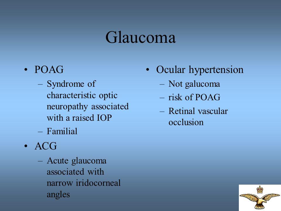 Glaucoma POAG ACG Ocular hypertension