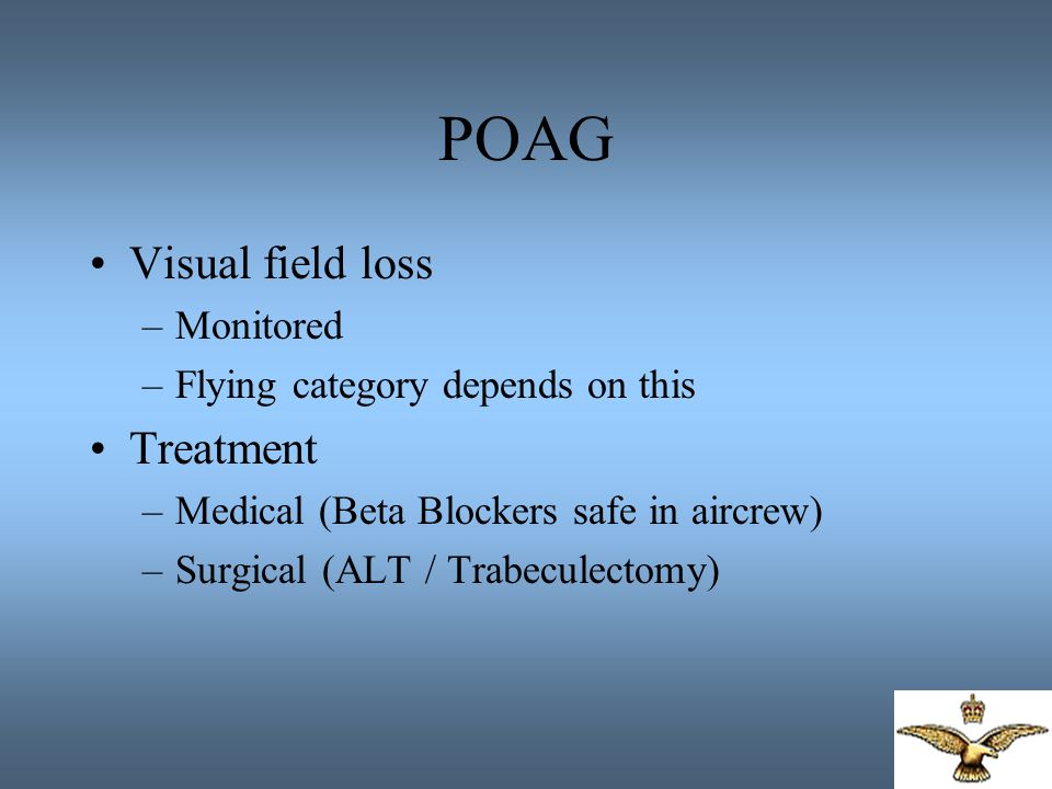 POAG Visual field loss Treatment Monitored