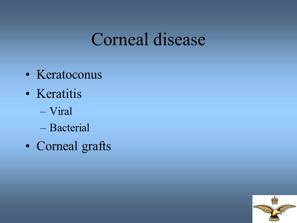 Corneal disease Keratoconus Keratitis Viral Bacterial Corneal grafts