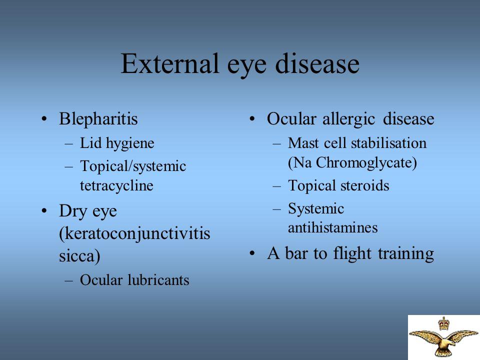 External eye disease Blepharitis Dry eye (keratoconjunctivitis sicca)