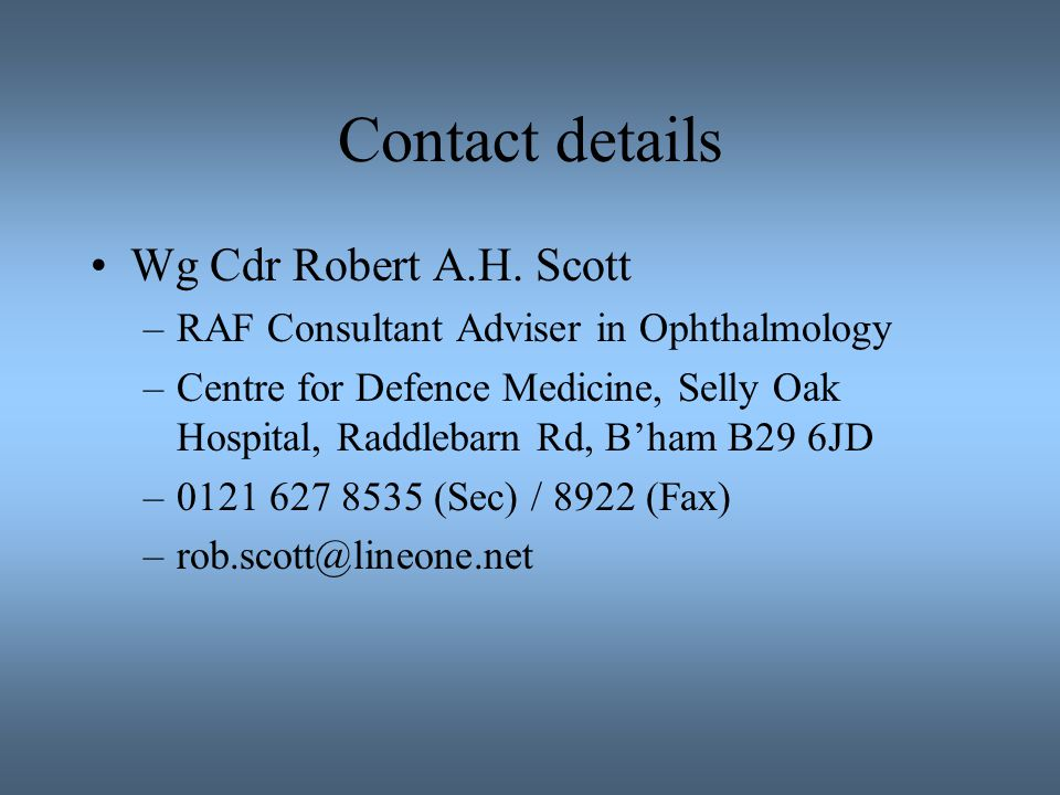 Contact details Wg Cdr Robert A.H. Scott