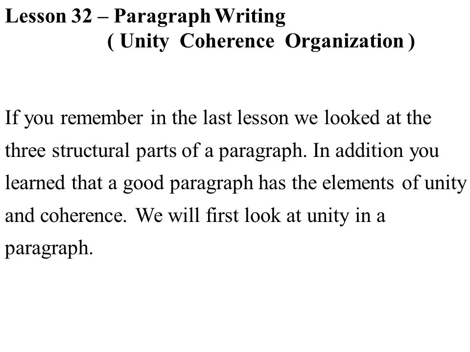 Lesson 32 – Paragraph Writing