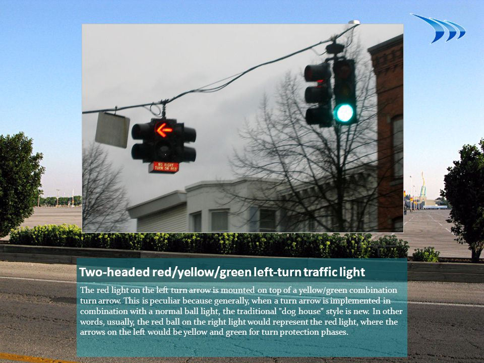 Two-headed red/yellow/green left-turn traffic light