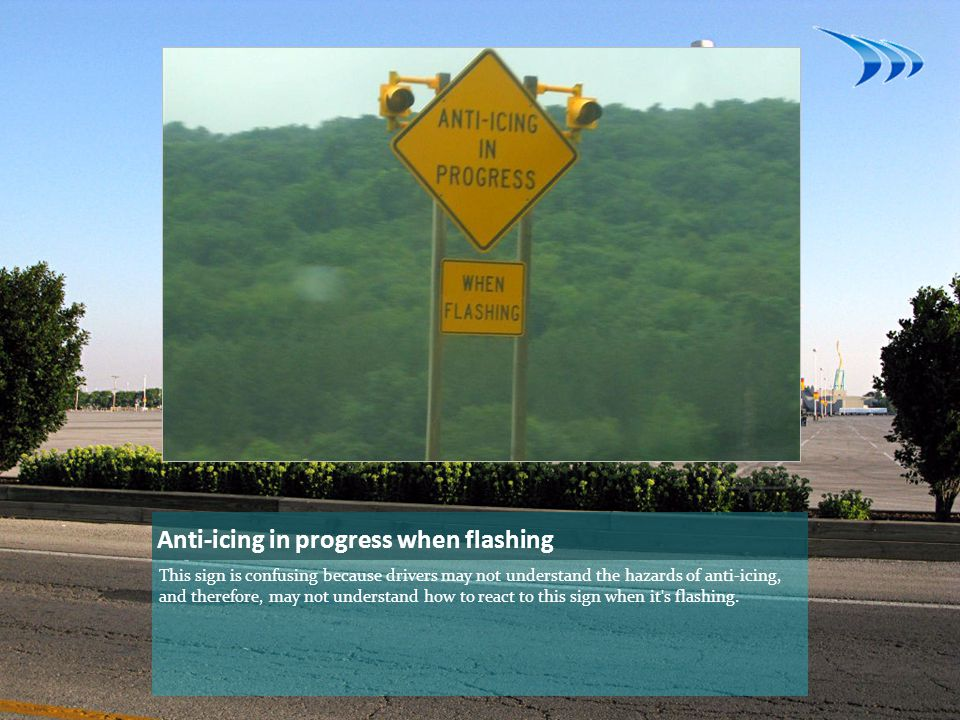 Anti-icing in progress when flashing