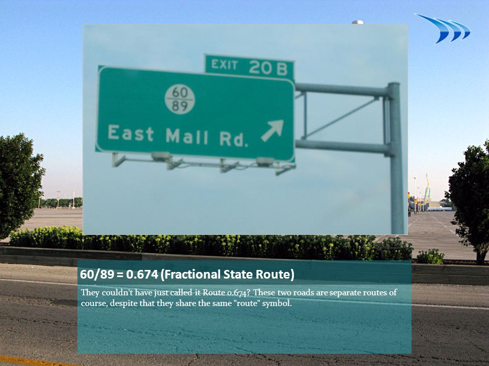 60/89 = 0.674 (Fractional State Route)
