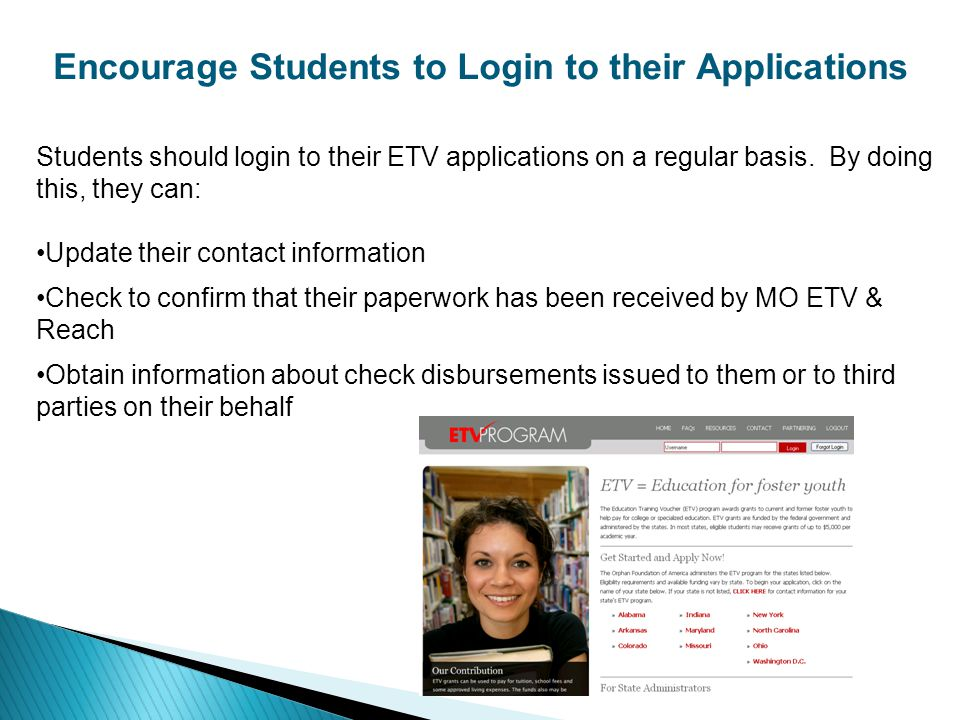 Encourage Students to Login to their Applications