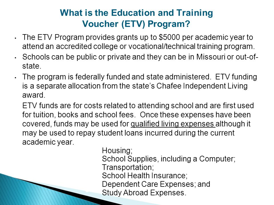 What is the Education and Training Voucher (ETV) Program