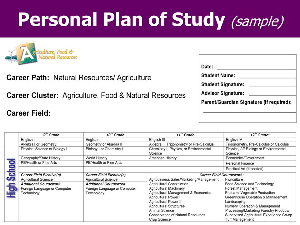 Personal Plan of Study (sample)