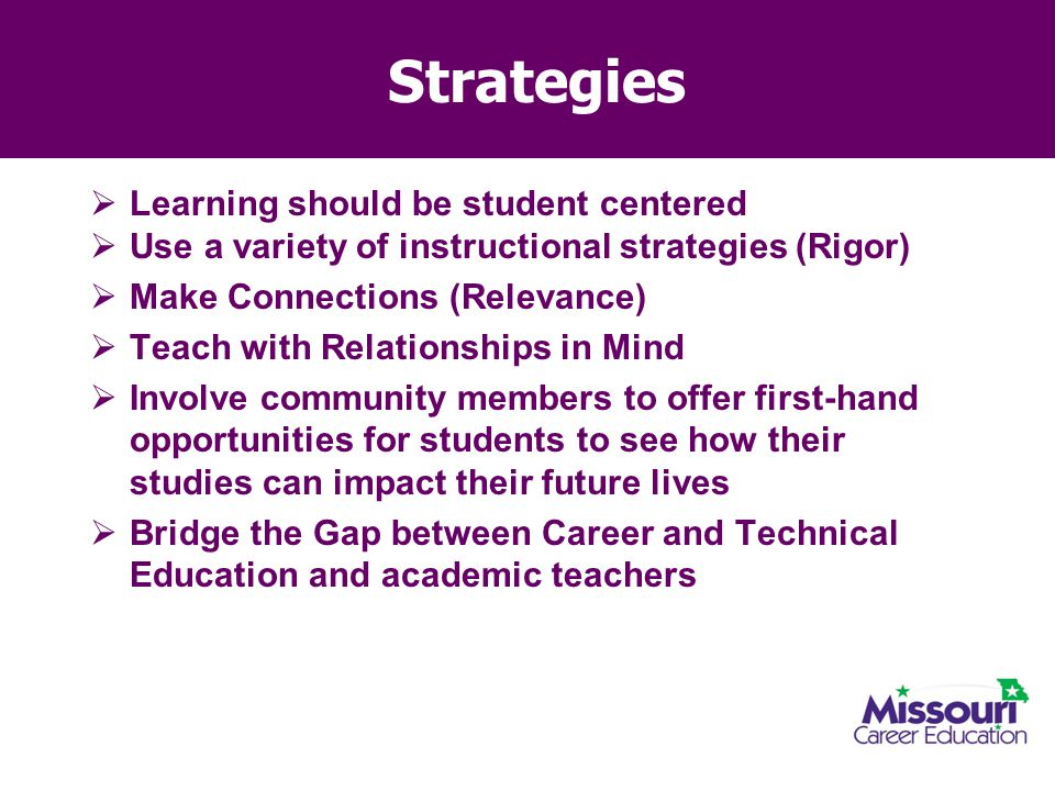 Strategies Learning should be student centered