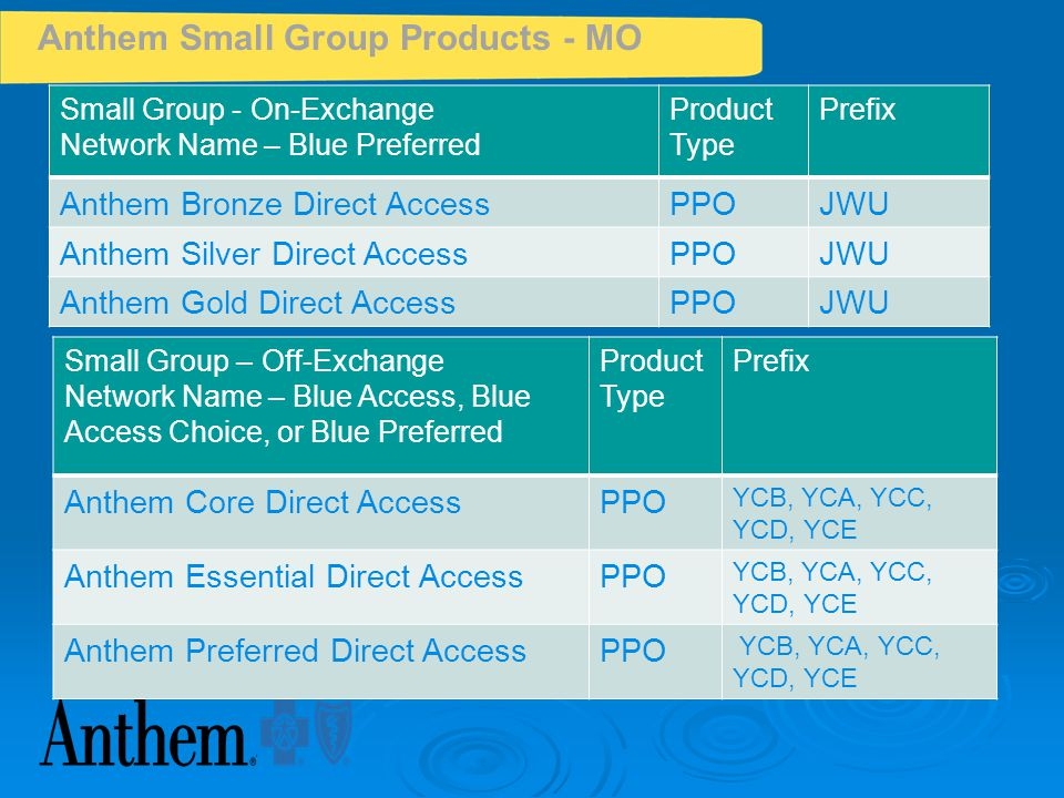 Anthem Small Group Products - MO