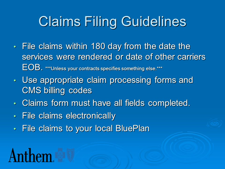 Claims Filing Guidelines