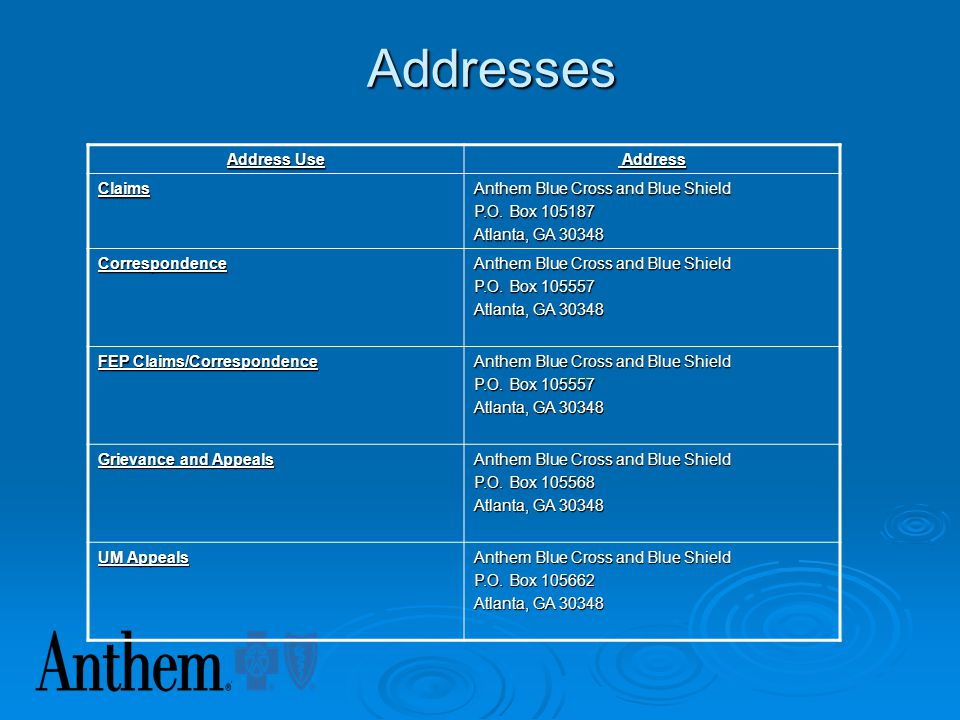 Addresses Address Use Address Claims Anthem Blue Cross and Blue Shield