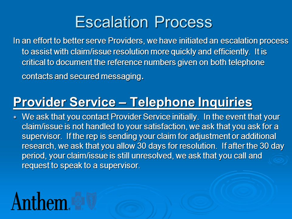 Escalation Process Provider Service – Telephone Inquiries