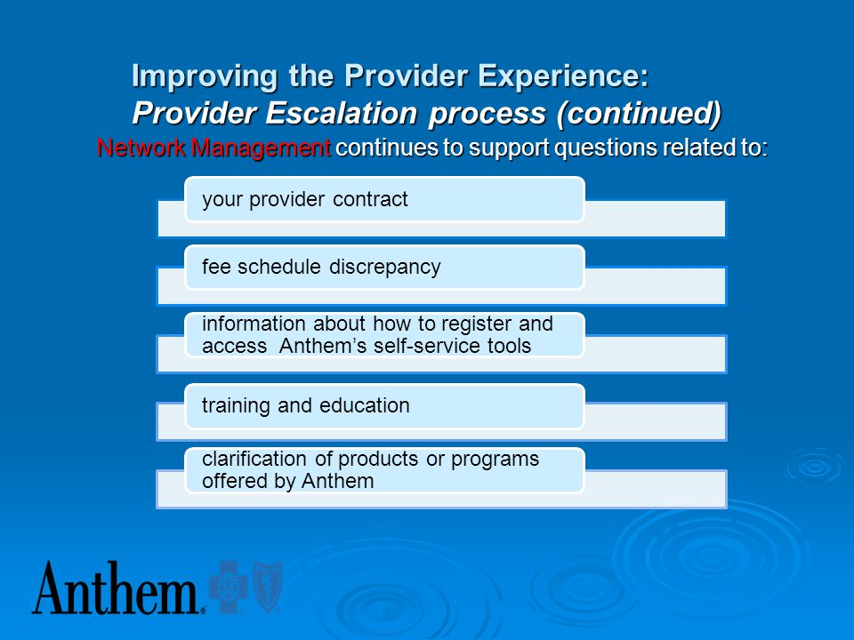 Improving the Provider Experience: Provider Escalation process (continued)