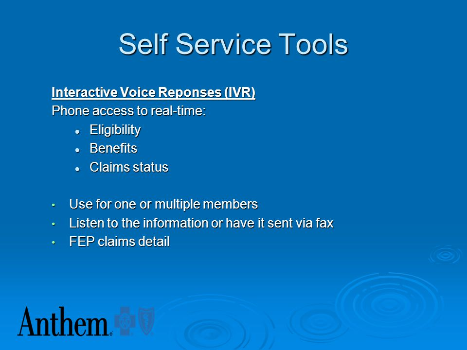 Self Service Tools Interactive Voice Reponses (IVR)