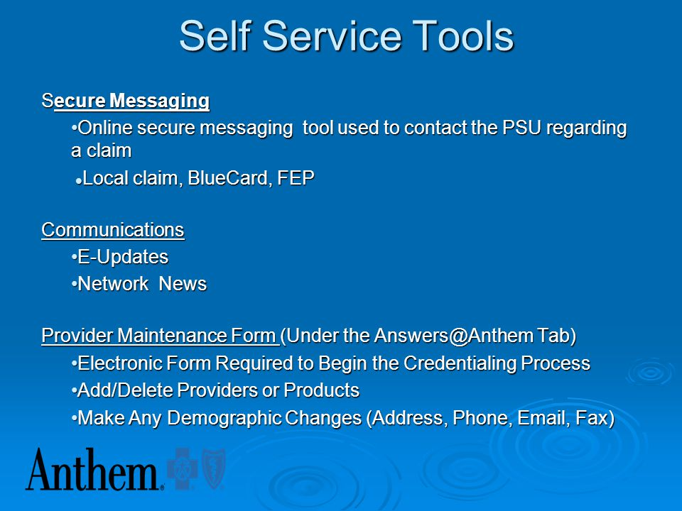 Self Service Tools Secure Messaging