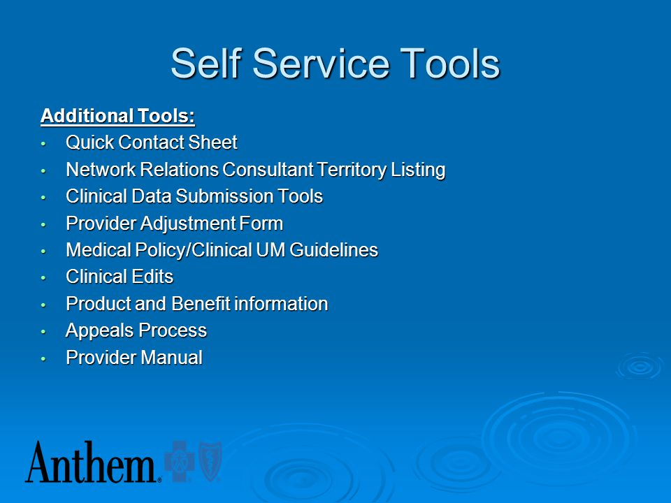Self Service Tools Additional Tools: Quick Contact Sheet
