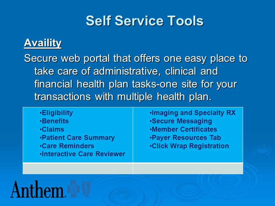 Self Service Tools Availity