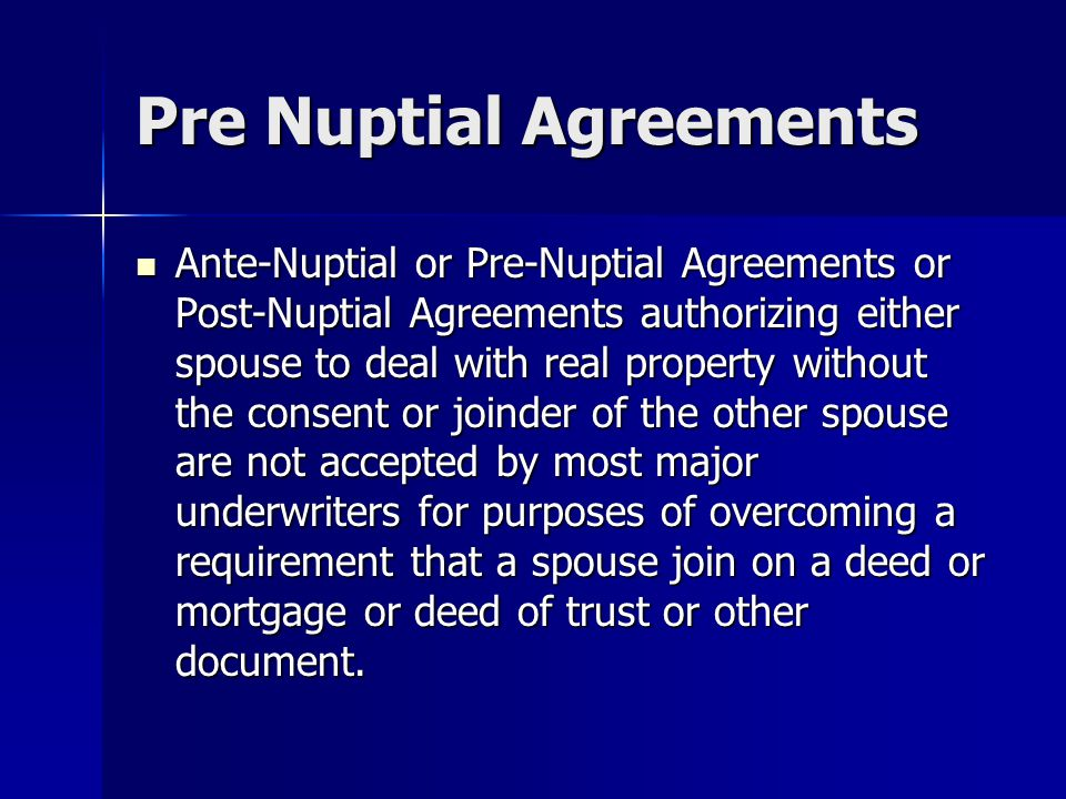 Pre Nuptial Agreements