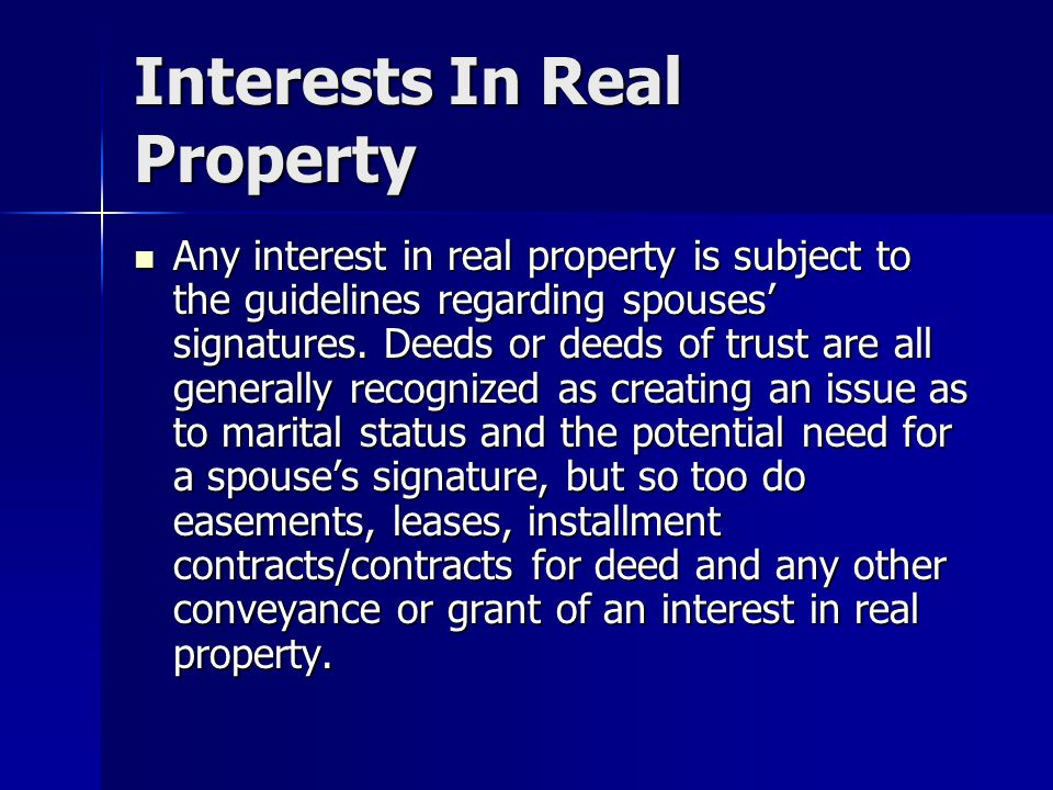 Interests In Real Property