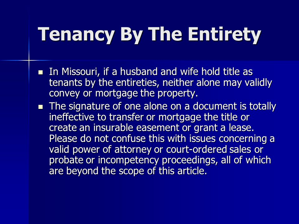 Tenancy By The Entirety