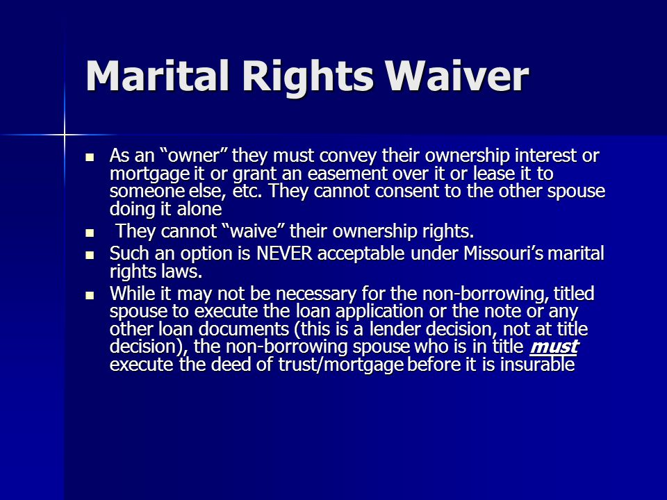 Marital Rights Waiver
