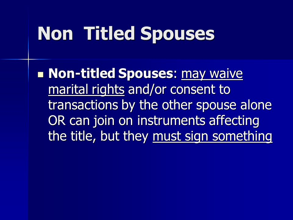 Non Titled Spouses