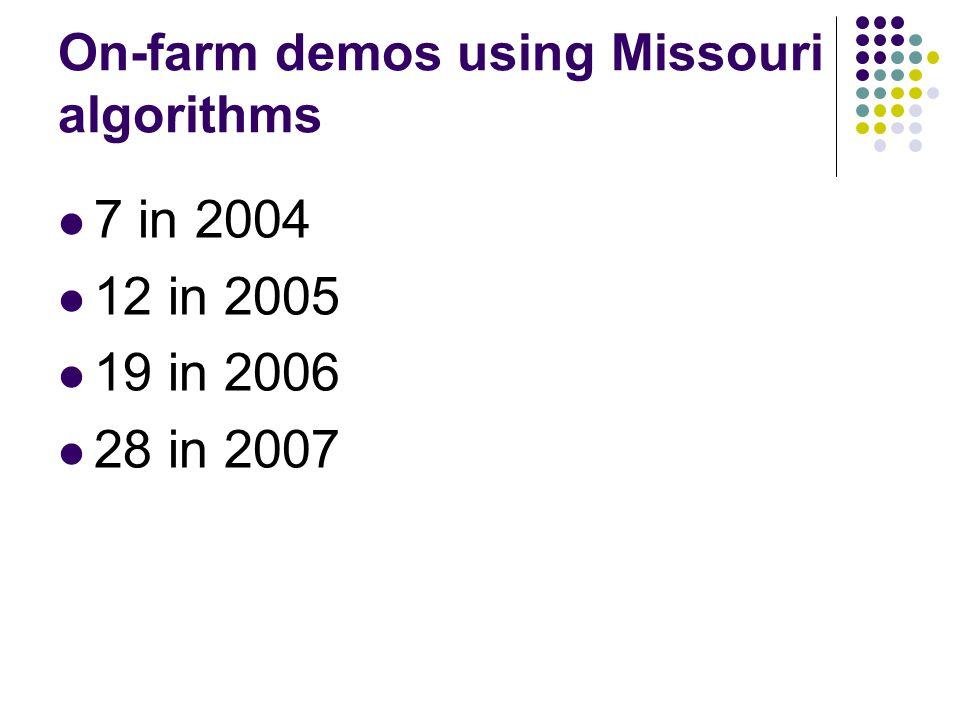 On-farm demos using Missouri algorithms