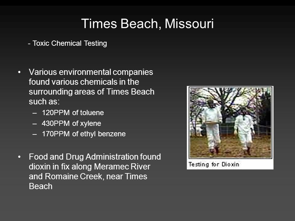 Times Beach, Missouri - Toxic Chemical Testing.