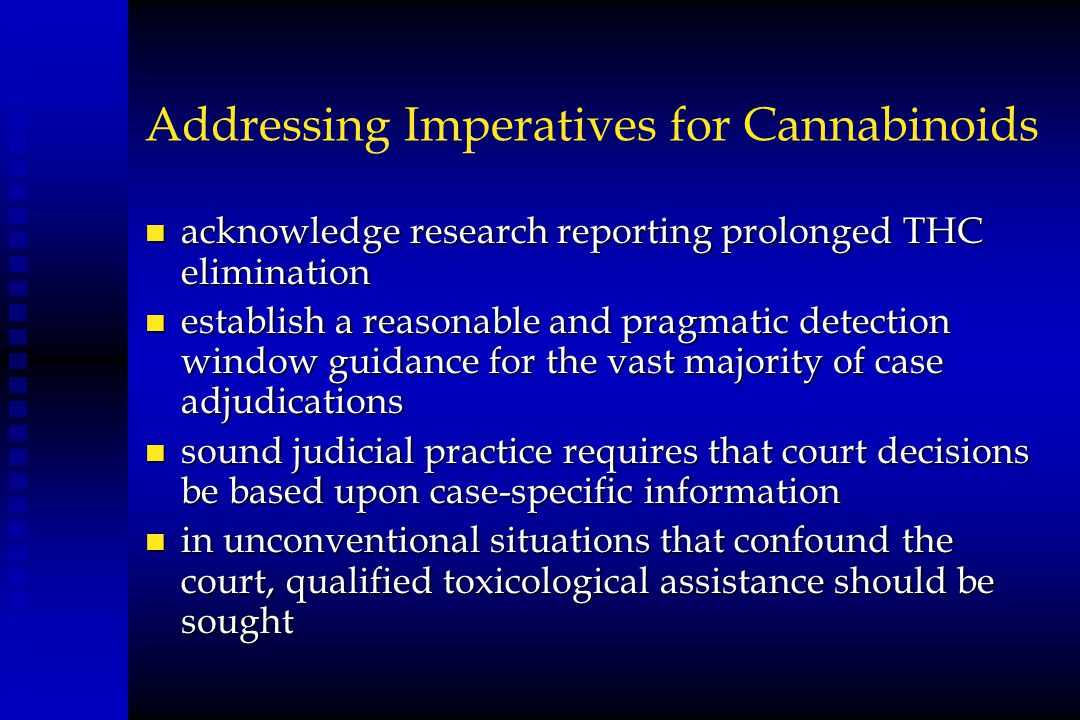Addressing Imperatives for Cannabinoids