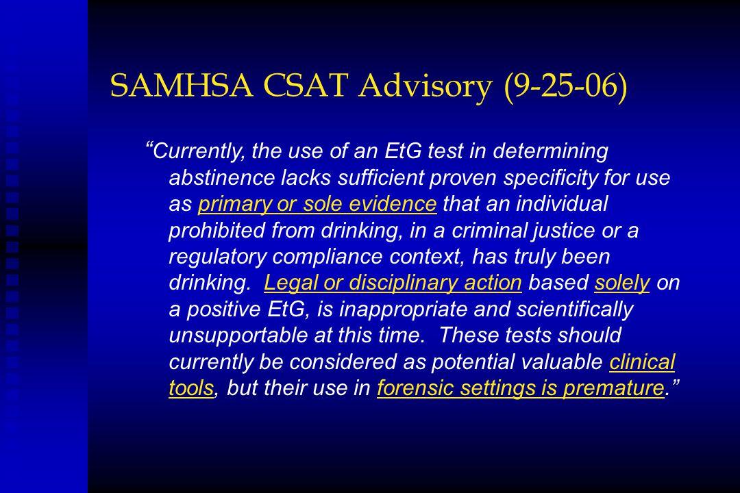 SAMHSA CSAT Advisory (9-25-06)