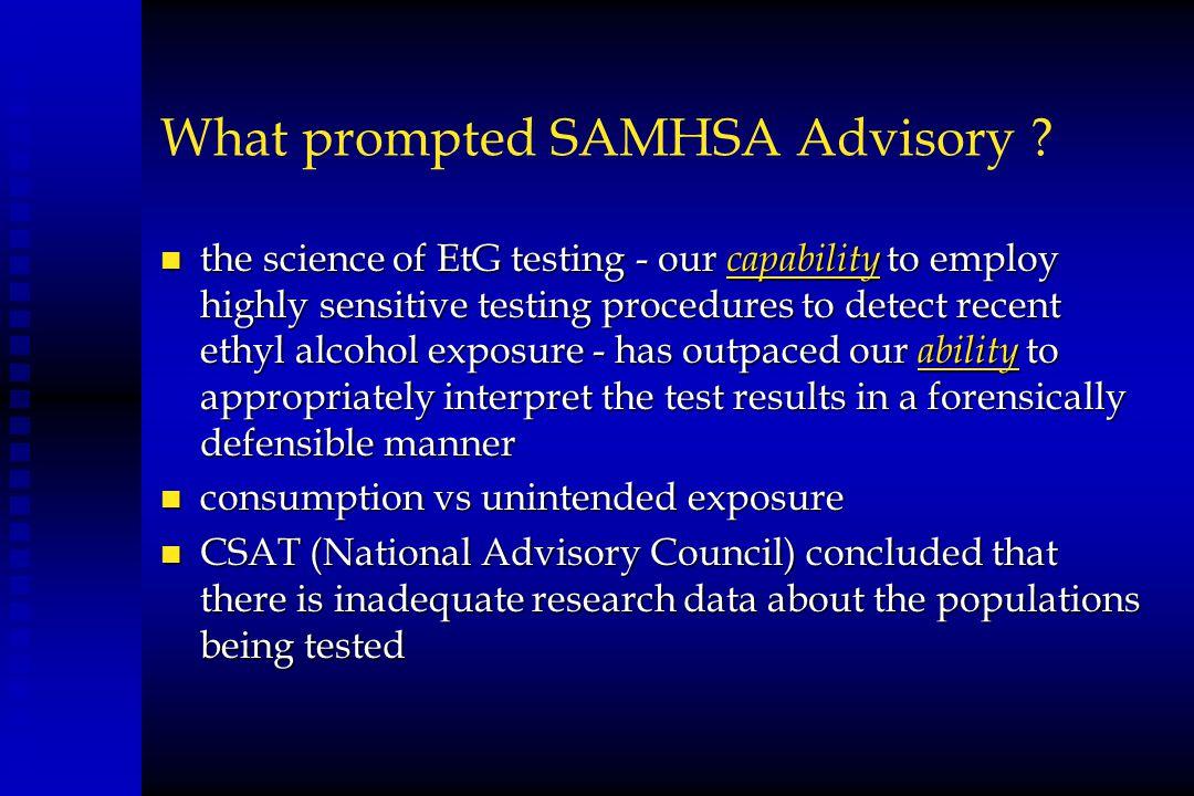 What prompted SAMHSA Advisory